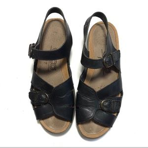 Ecco black leather comfort hiking sandals
